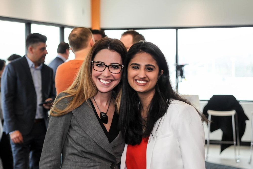 Knowledge Partner Catia Skinner with Sana Virji, a client attending Innovation Cluster event