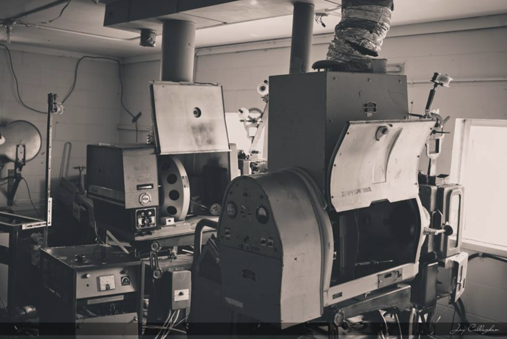 Photo by Jay Callaghan of old projector room at Mustang Drive-In