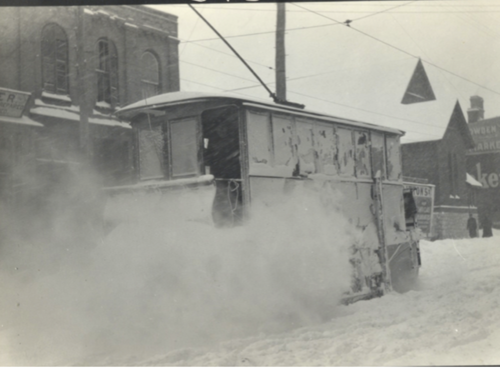 Snow Sweeper on George Street between Brock and Murray Streets c. 1910 [Trent Valley Archives, Electric City Collection]