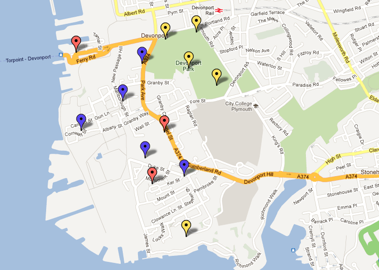 Tomorrow I am going to go down to Devonport with my group and suss out the GPS coordinates for the 3 geocache locations (shown with red pins) we will plant, and then take pictures at these locations (and a few others shown in blue pins) to show the change over a week in different spots over the Devonport area. Existing geocaches are shown in yellow. Then once I have the coordinates for the 3 spots we will leave the caches there after a few days so they have been left in the environment for a few days.[link to the map]