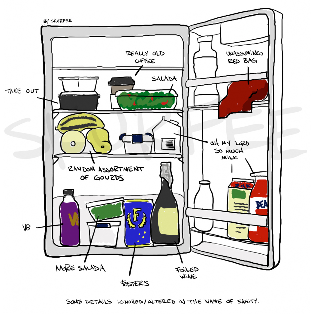 fifth floor fridge: an inventory of the second year ID student diet