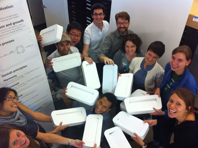 Foundation students celebrate getting their printer model done.