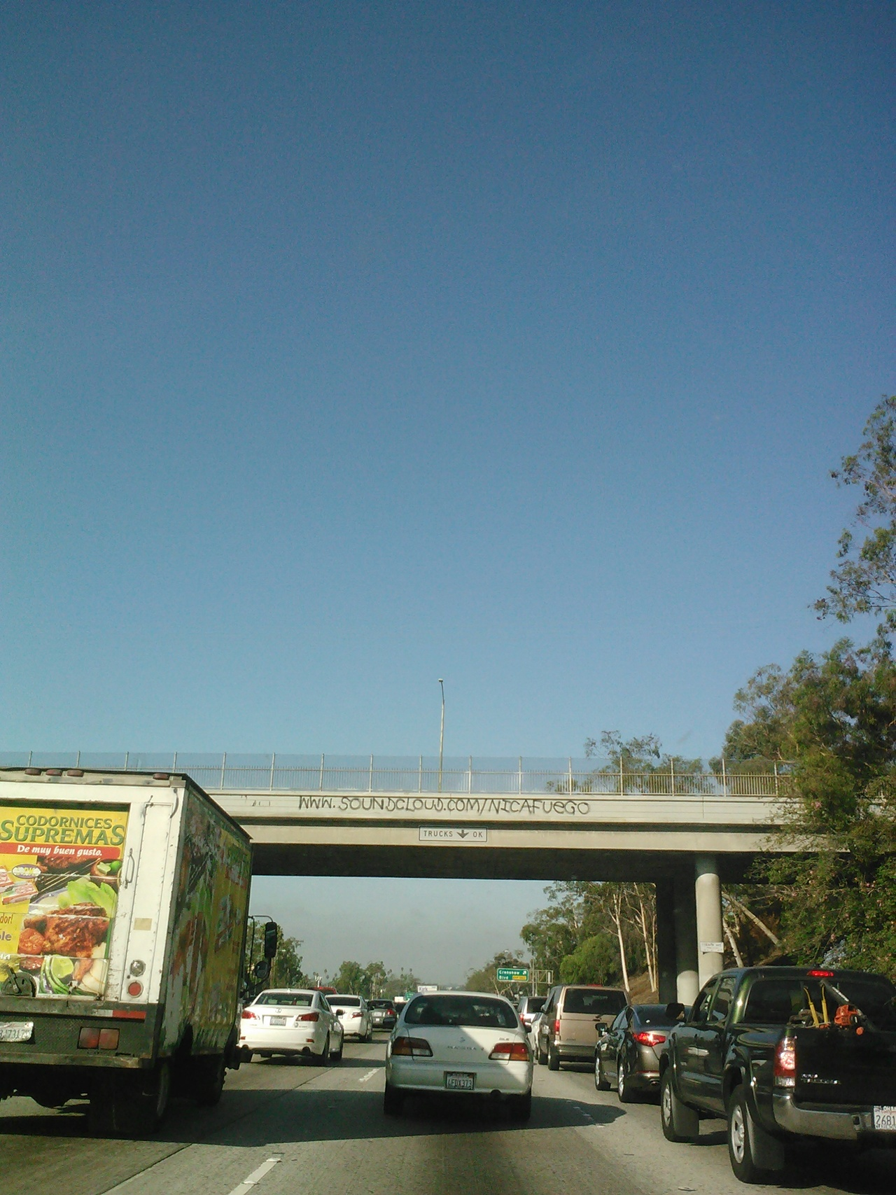 dj competition is getting very real in LA. tagging bridges on the 405 with a soundcloud page is kind of genius.
