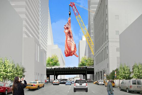 this.    blackvon :     Meat in the meat packing district. Makes sense to me.    heartasarena :     Forget  Jeff Koons . Give the @highlinenyc to Damien Hirst.