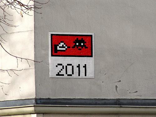 always loved Space Invader.    stencils :     Space Invader 2011 (by  _Kriebel_ )