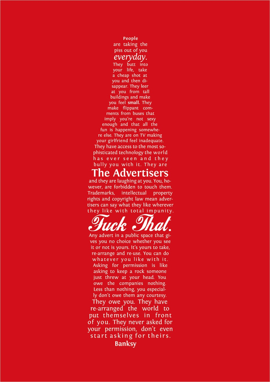 a message about advertising from Banksy.