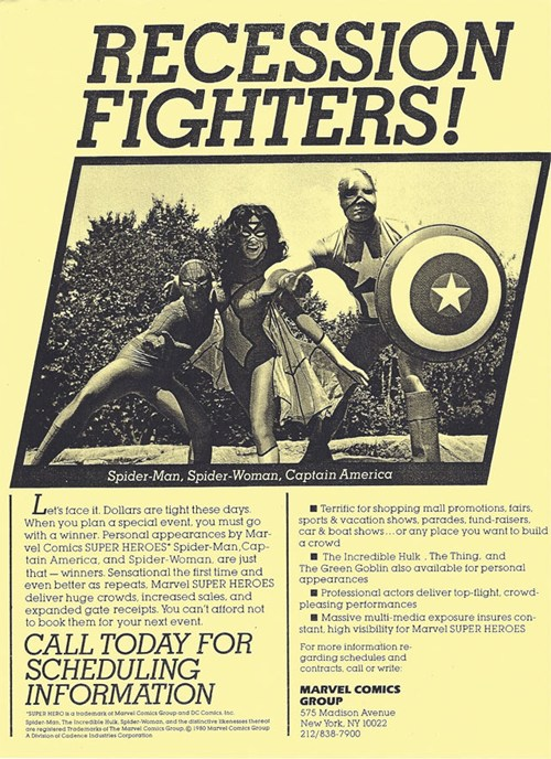 """thedailywhat :       From The Archives: Superheroes To Fix The Recession:  This Reagan-era ad promises that Marvel characters outside your small business will deliver """"huge crowds, increased sales, and expanded gate receipts.""""    If only fixing the recession were that easy.    [  nerdcore  ]"""