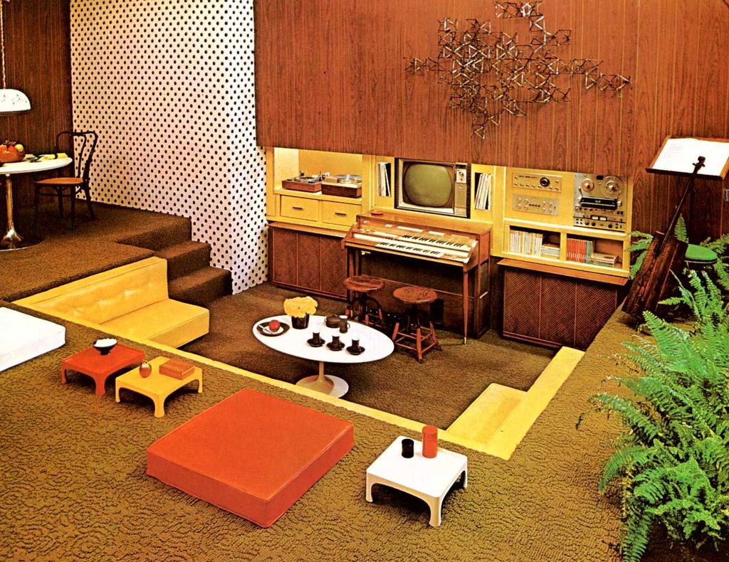 superseventies :     1970s interior design - media pit.