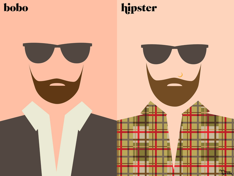 via Exp.lore.com    Vahram Muratyan's Minimalist illustrated portraits of cultural differences between Paris and NYC.