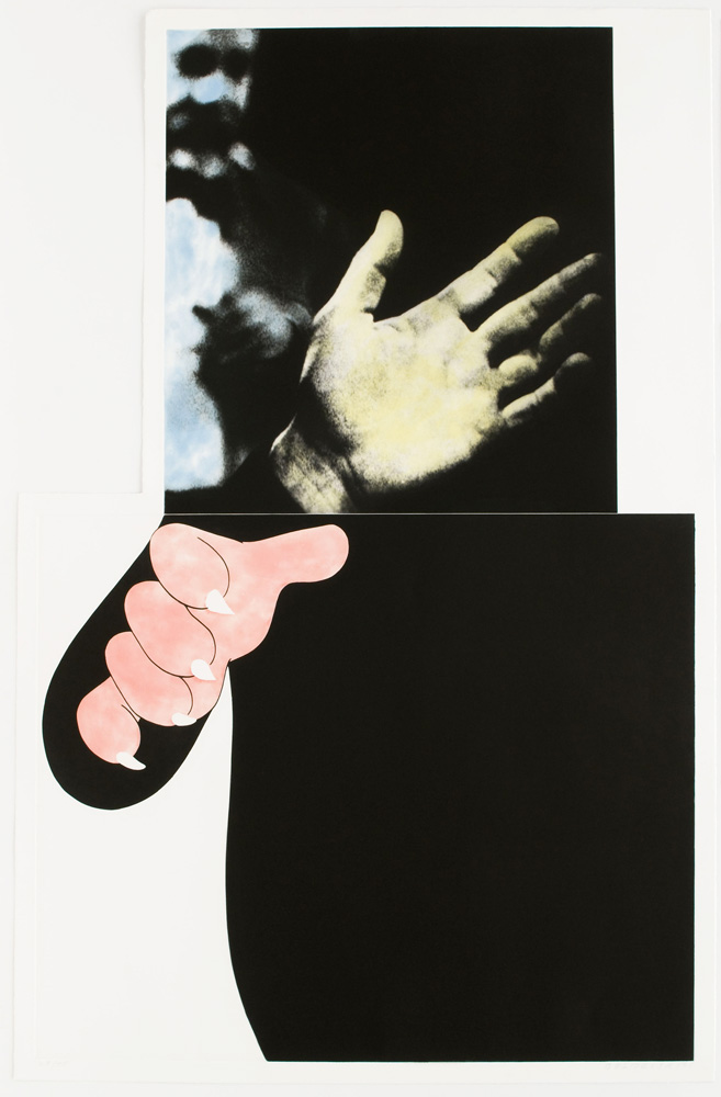 """manbartlett :     John Baldessari Two Hands (With Distant Figure), 1989-90 Print: Photogravure with color aquatint 523/4"""" x 35"""" Edition: 45   On view at  Brooke Alexander Gallery  during the online-only VIP Paper Fair (FYI that link might require registration).   Yeah I like hands."""