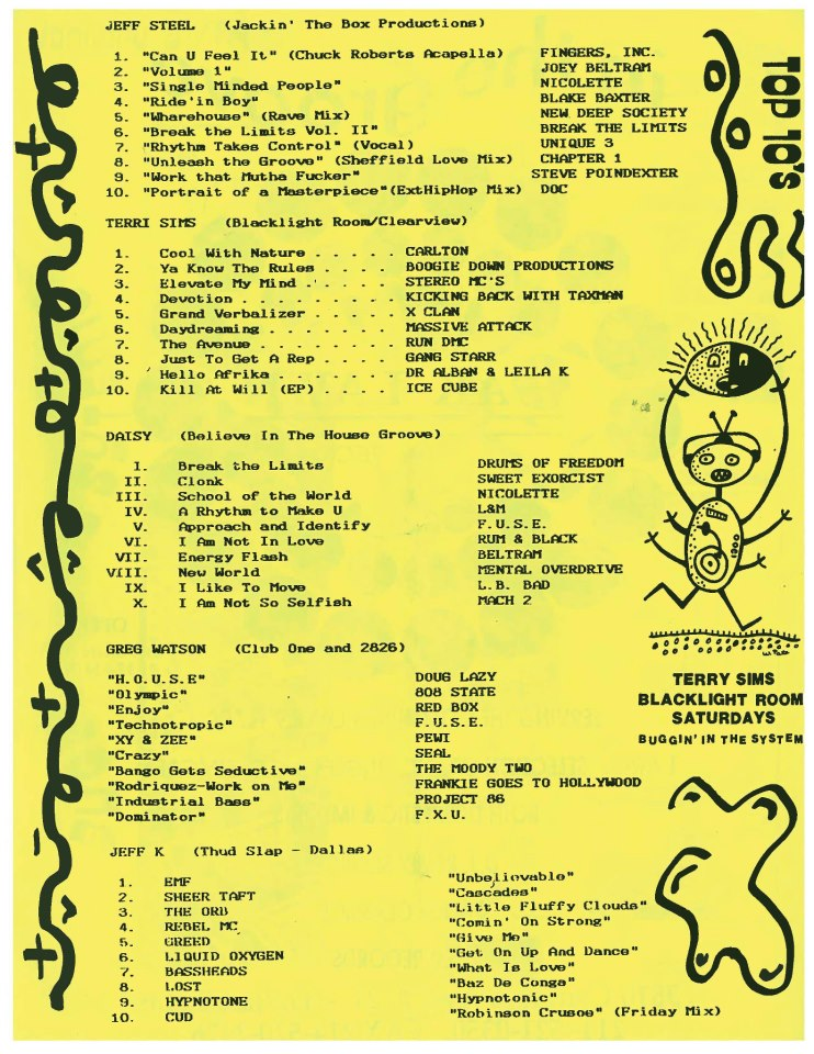 """what were you playing 22 years ago? my top 10 dj listing from """"The Vibe"""" (not that Vibe) Fanzine Dallas, in 1990. (thanks to Miles Morris for posting originally)   1.  Fingers Inc. - Can U Feel It? (Chuck Roberts acapella)    2.  Joey Beltram - Energy Flash    3.  Nicolette - Single Minded People    4.  Blake Baxter - Ride em Boy    5.  New Deep Society - Warehouse Days of Glory    6.  Break the Limits Vol II. (white label)   7.  Unique 3 - Rhythm Takes Control    8.  Chapter 1 - Unleash the Groove    9.  Steve Poindexter - Work that Mutha Fucker    10.  The D.O.C. - Portrait of a Masterpiece (CJ re-edit)"""