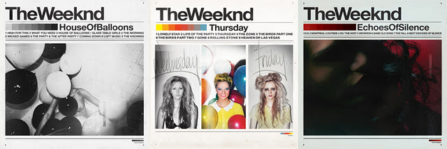 #1 The Weeknd - House of Balloons (Trilogy)   Canadian artist, Abel Tesfaye dreamed up a drug fueled orgy between R. Kelly, Portishead and Steve Spacek, then gave it away, in 9 song chunks, on the first day of the Spring, Summer and Winter. The Weeknd was a constant on my ipod in 2011.   House of Balloons, Thursday, Echoes of Silence (free   DOWNLOAD  )     Heavy Rotation in 11  (click to stream)