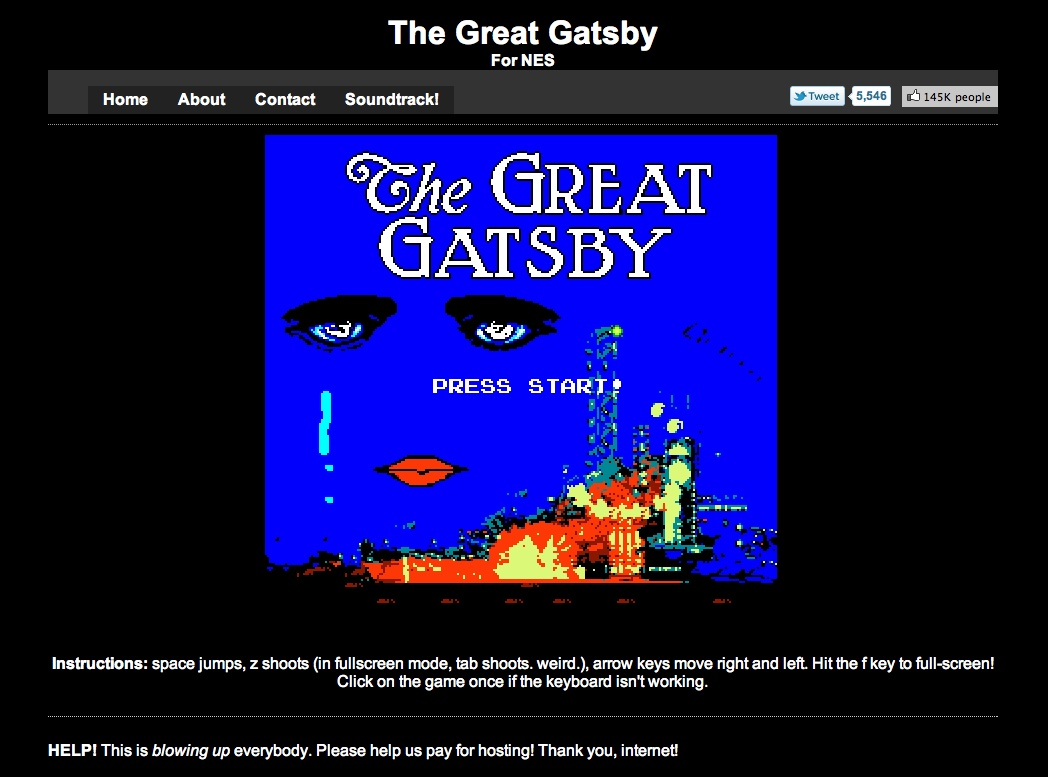 5 magical words.  Great Gatsby 8-bit video game . overwhelming awesomeness. how did i not know about this sooner? goodbye tuesday afternoon. ( via  The Rumpus  )