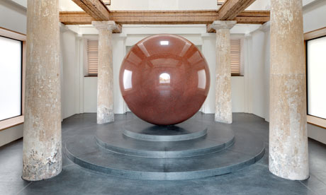 another pilgrimage worthy work from seventy five year old artist  Walter De Maria .  Large Red Sphere  is a twenty five ton beacon for art nerds such as myself located at the Turkentor Gallery in Germany. the architectural firm of  Sauerbruch Hutton  built the gallery to house this single work of art in a site that formerly housed a military bunker occupied by Hitler himself, adding to the intrigue. i am in the planning stages for my second  trip to  The Lightening Field , De Maria's seminal sculpture in the middle of the New Mexico dessert, now i have to add this to my art bucket list.    Gaurdian UK review  here