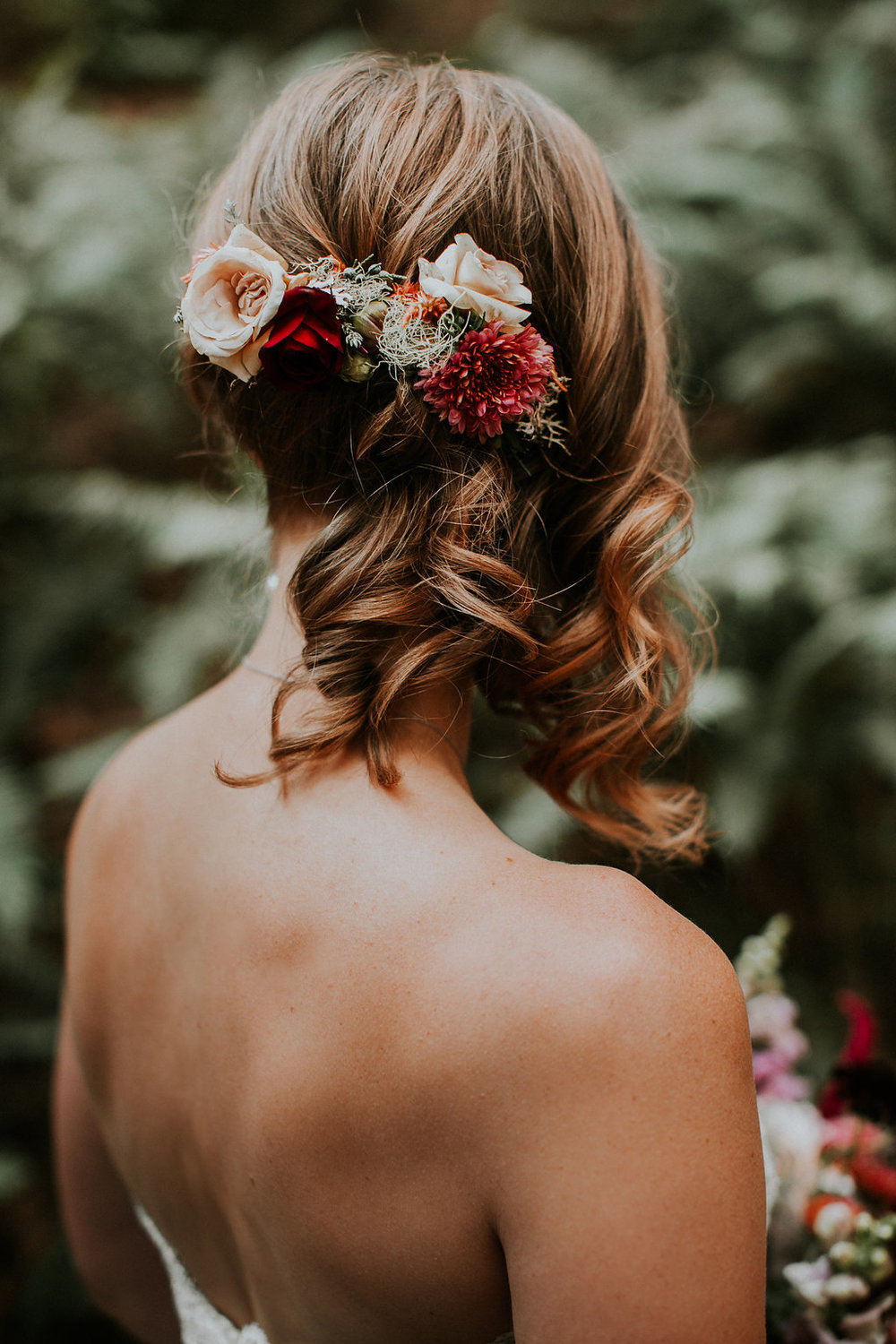 Burgundy and blush wedding hair flowers