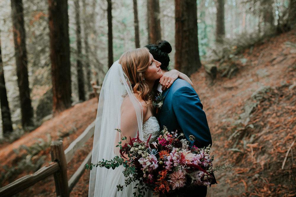 Soft jewel tone bridal bouquet