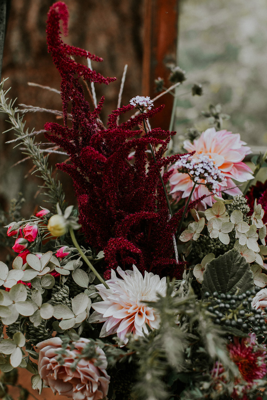 Textural wedding flower focal