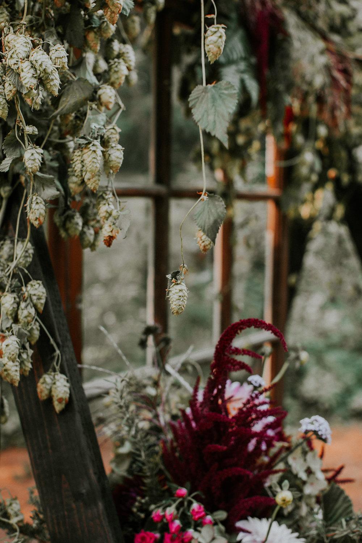 Boho woodland wedding flowers with hops in Portland, Oregon