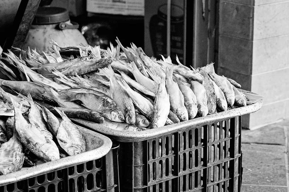 Dried fish for sale at the Red Market
