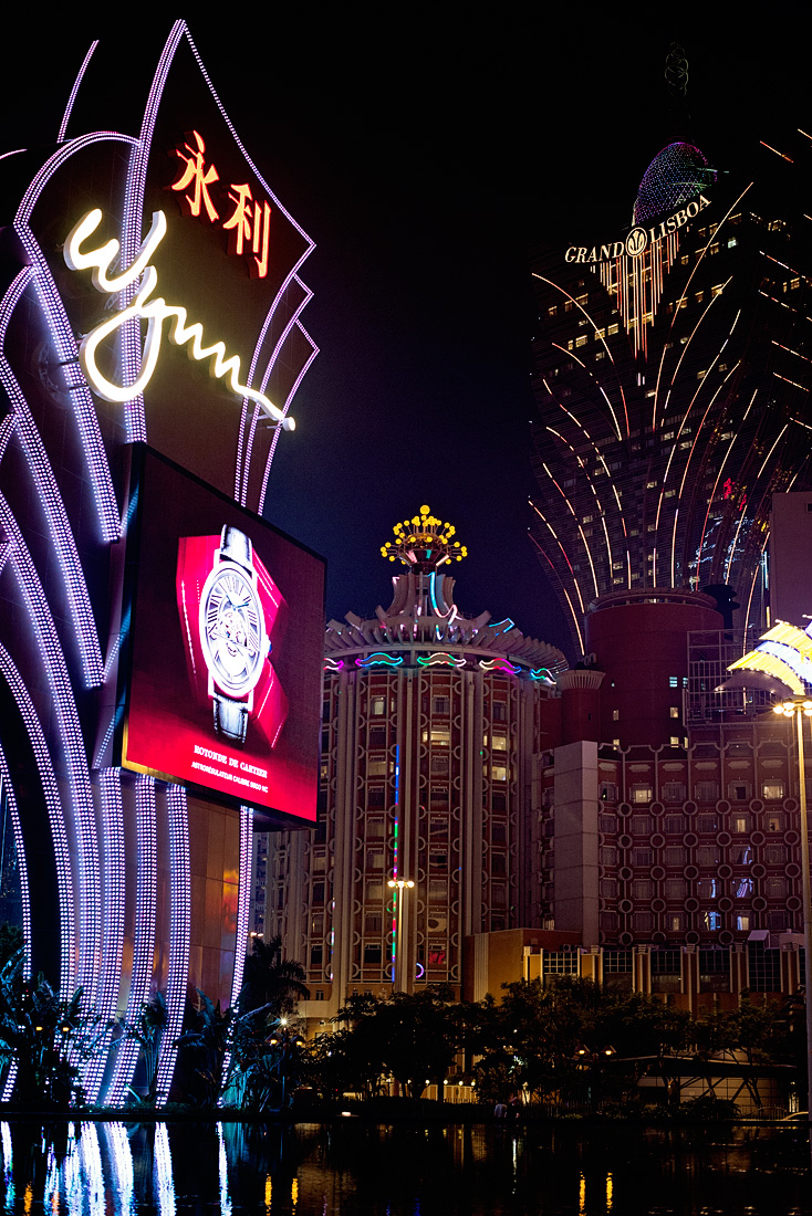 A glimpse of the neon lights of the hotel casinos in Macau.