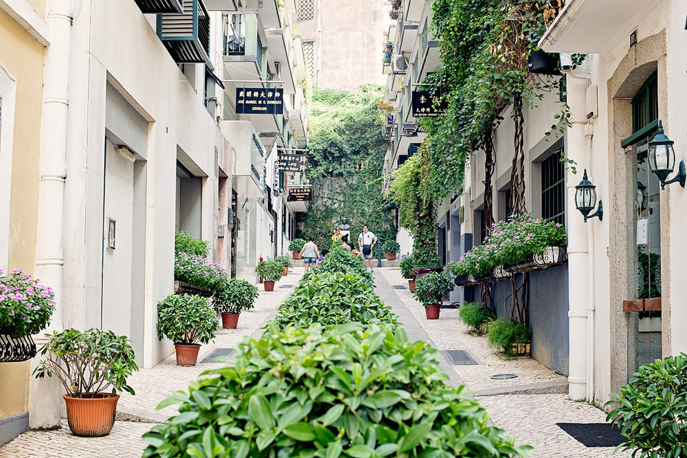 A small european looking laneway coming off Senado Square (the main civic hub of Macau)