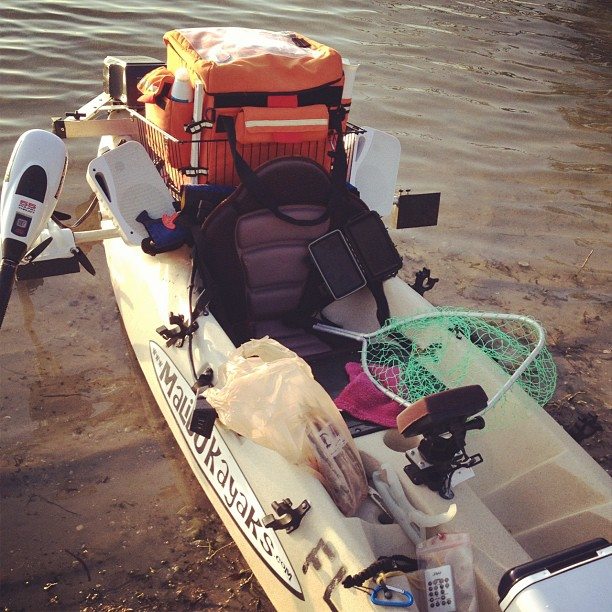 Why yes…that IS a stero system and trolling motor attached to my dad's kayak. Don't they all come with those? (Taken with  Instagram )