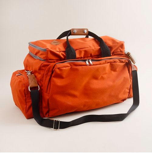 thestylebuff :     J. Crew Orange nylon weekender