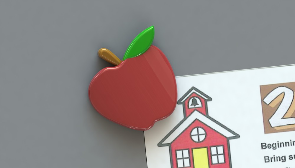 Rendered apple Corner Keeper onbulletin board