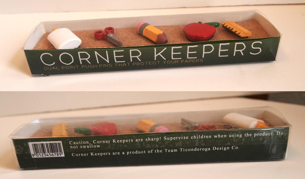 Teacher themed Corner Keepers in their final packaging.