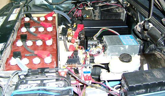 Under the hood of the Electric Ranger soon after the conversion