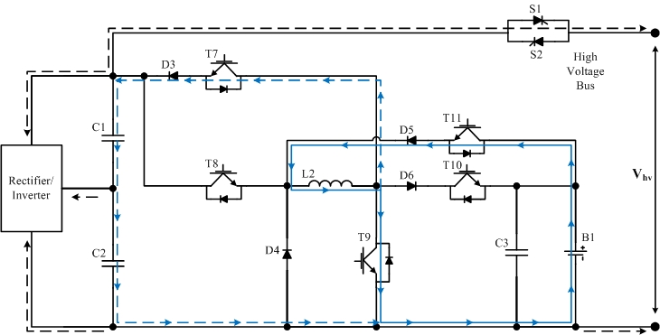 Integrated Bi-directional Power Electronic Converter -DC-DC boost mode