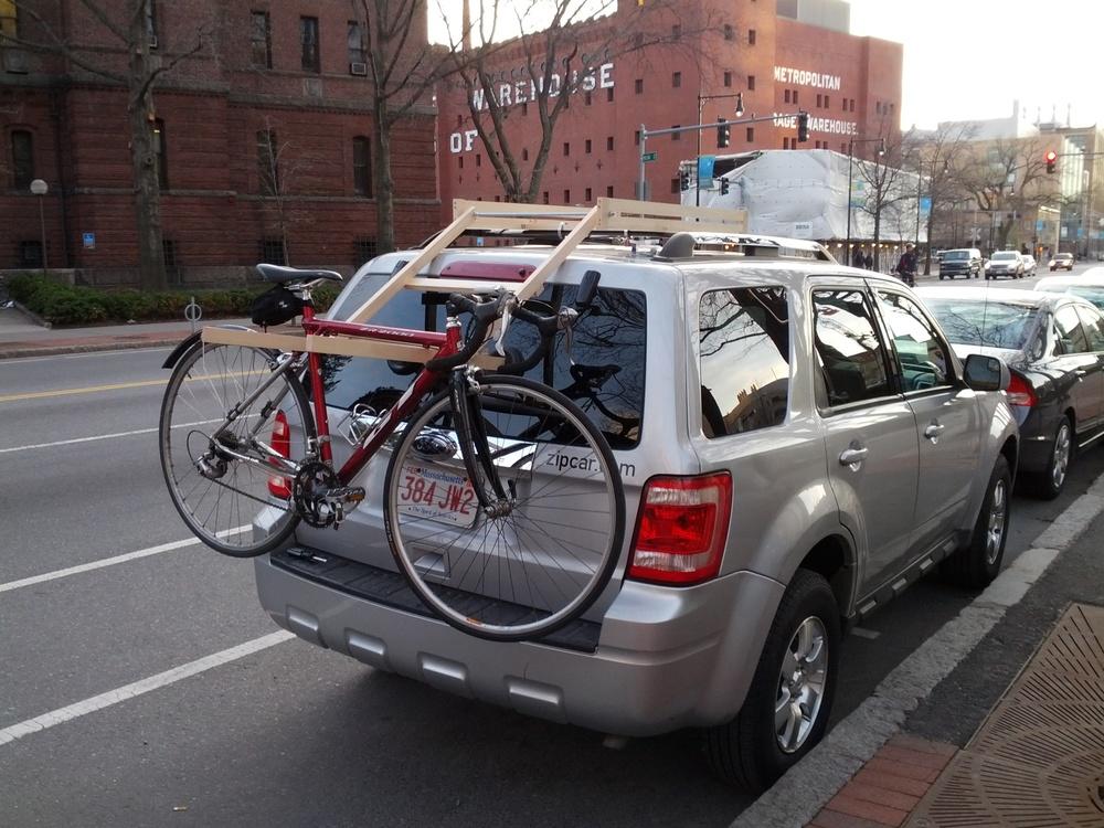 The pre-alpha wood rack with a bike