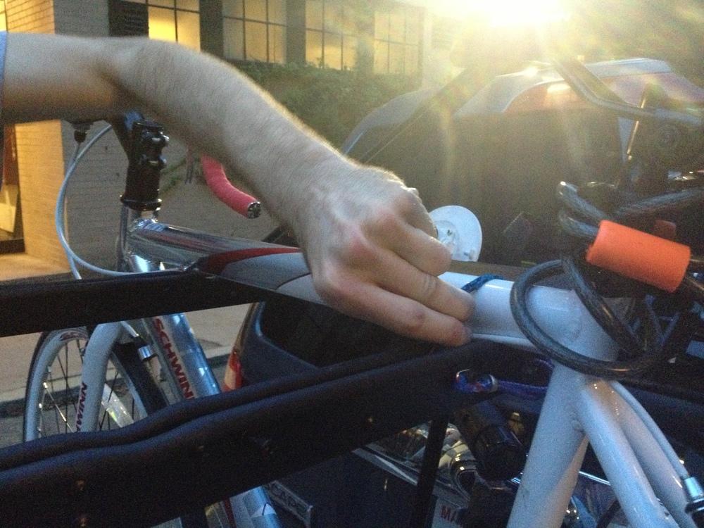 Bike attachment on the alpha prototype.
