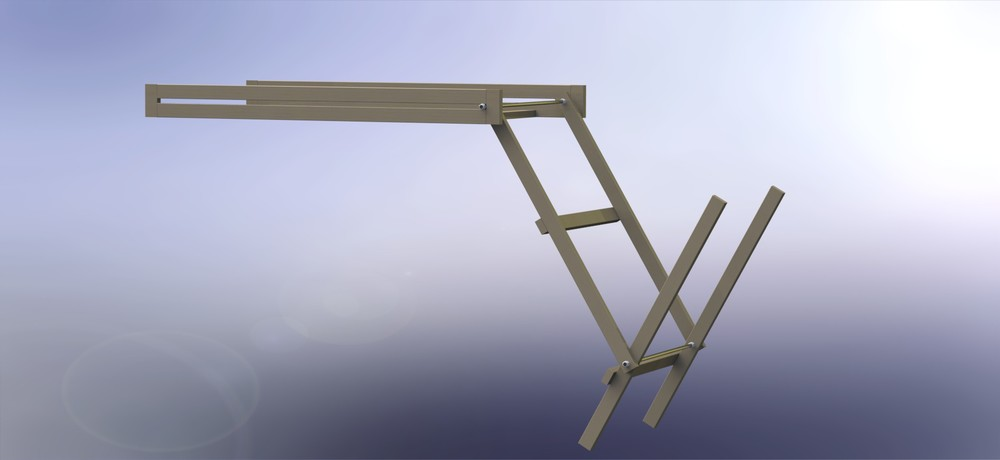 CAD rendering of the pre-alpha wood rack folding up