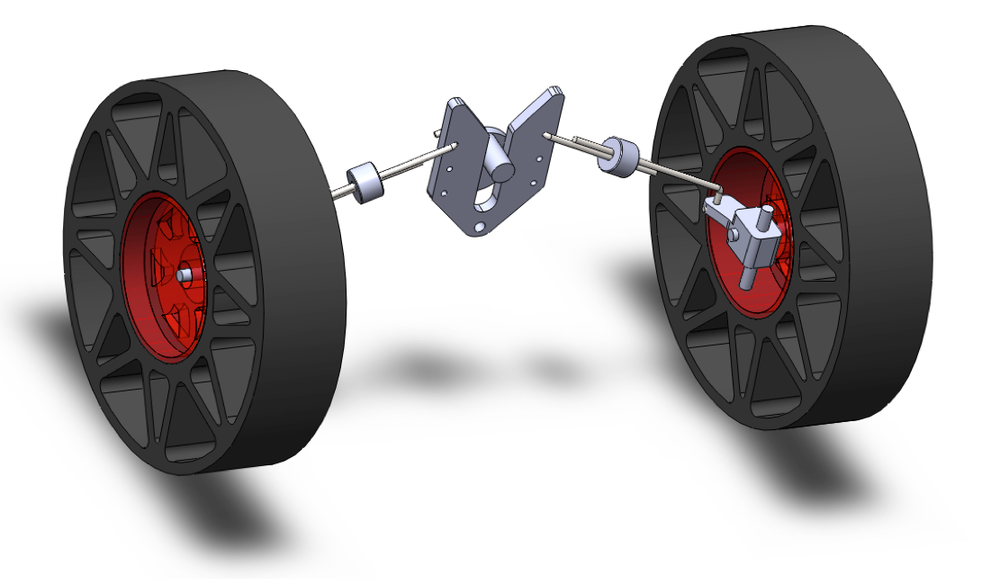 CAD view of front steering assembly