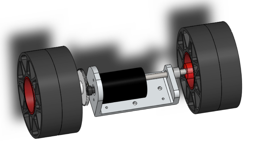CAD view of rear motor assembly