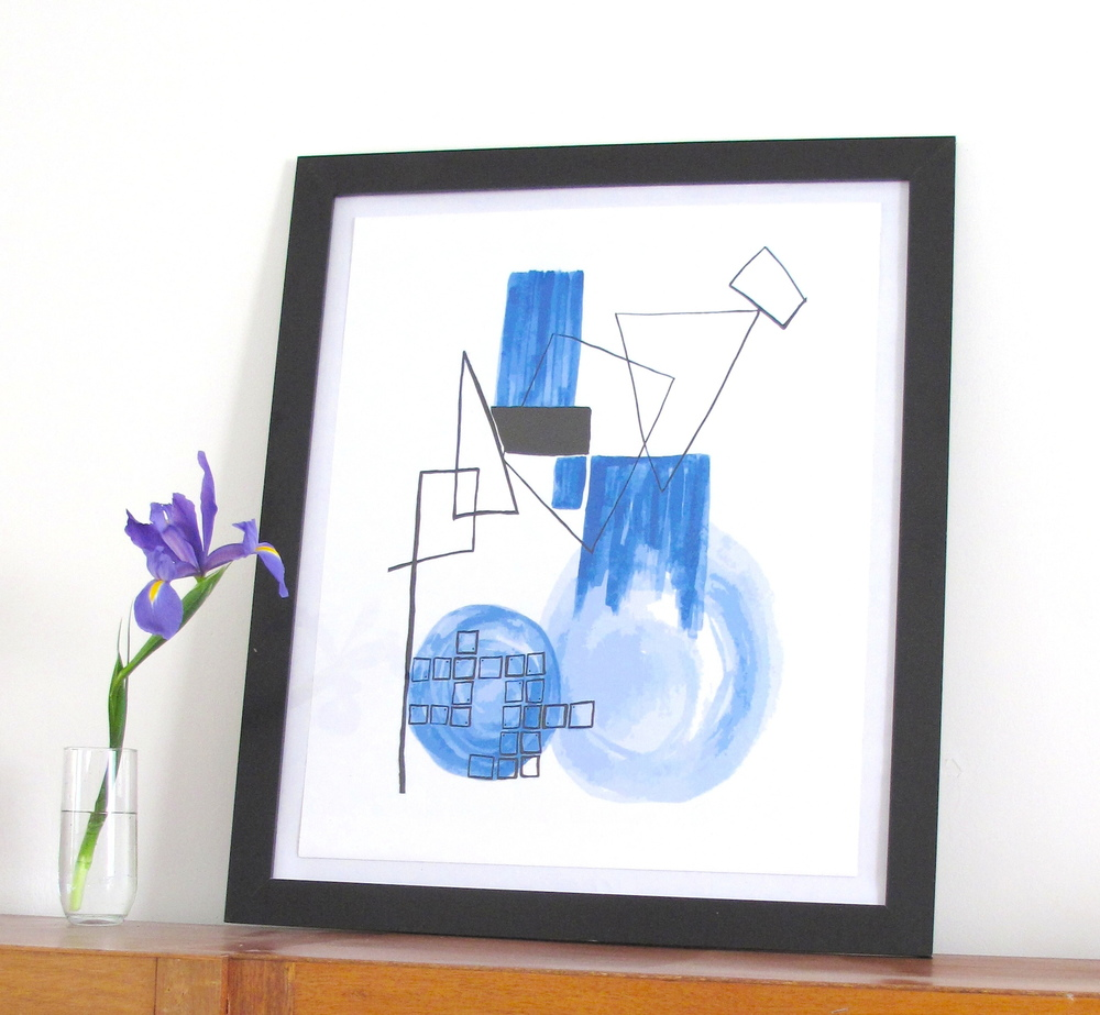 Abstract Print - Dance in Blue
