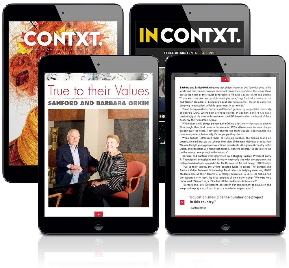 Sanford & Barbara Orkin in Ringling's CONTXT publication, Fall 2013