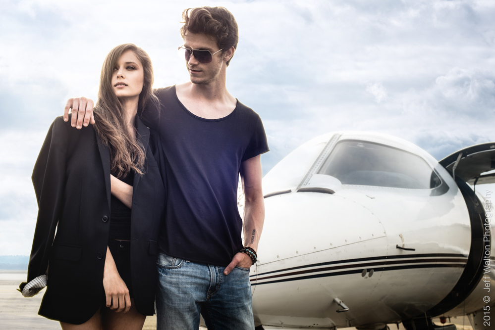 Travel in Style at Lowe Aviation with Cait Lynch (Ursula Wiedmann Models) and Dillan Moore (Directions USA) - by Jeff Walton Photography