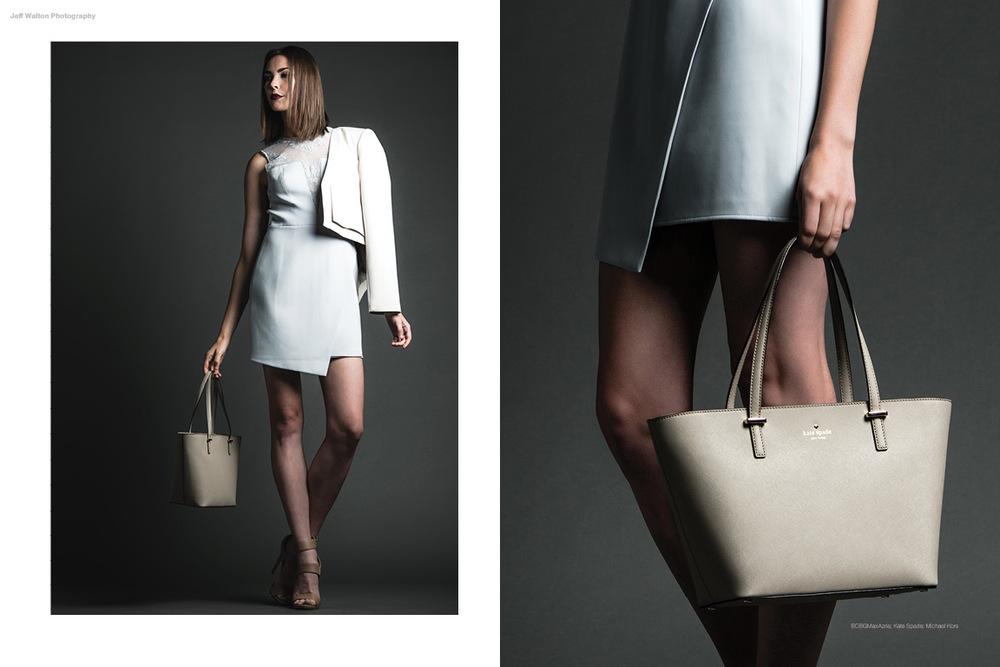 Commercial catalog photography by Atlanta based photographer Jeff Walton featuring BCBGMaxAzria dress, Kate Spade handbag and Michael Kors shoes.