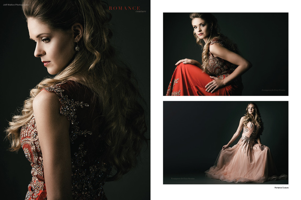 Commercial fashion photography by Atlanta based photographer Jeff Walton for an evening gown distributor.