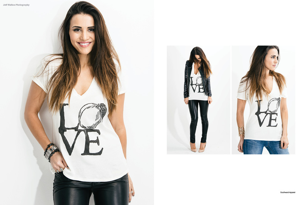 Commercial catalog photography by Atlanta based photographer Jeff Walton for Southward apparel featuring Andi Dorfman from ABC's The Bachelorette.