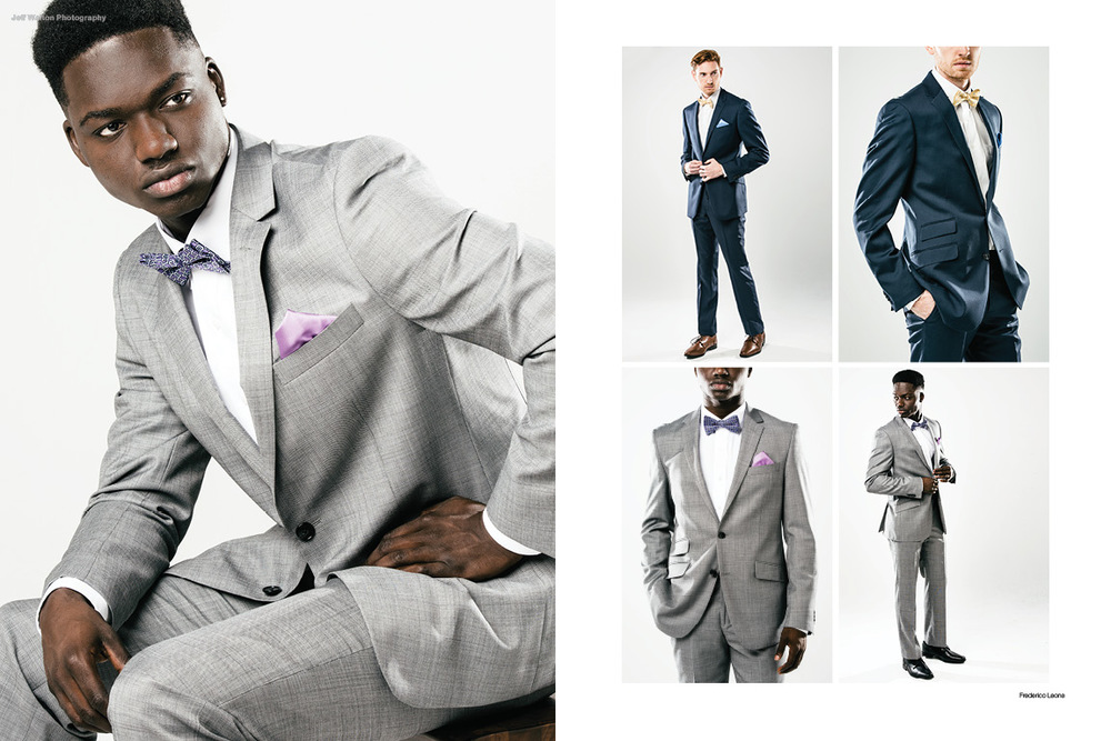 Commercial catalog photography by Atlanta based photographer Jeff Walton featuring men's suits by Frederico Leone.