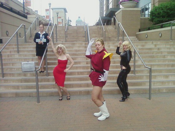 I'm the one in the Number 6 cosplay. From Battlestar Galactica?