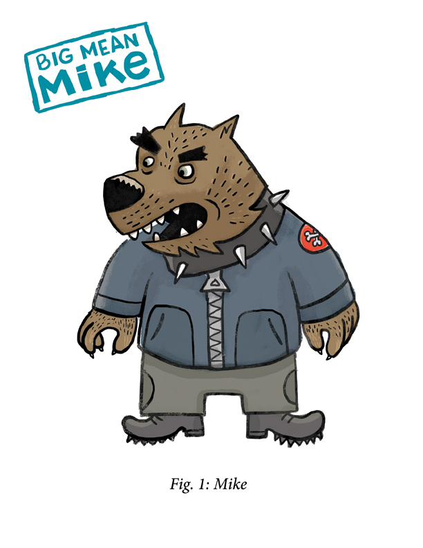 ...that of more a scruffy bulky wolf-like Mike. I love his huge zipper, collar, shoulder patch. Fun!