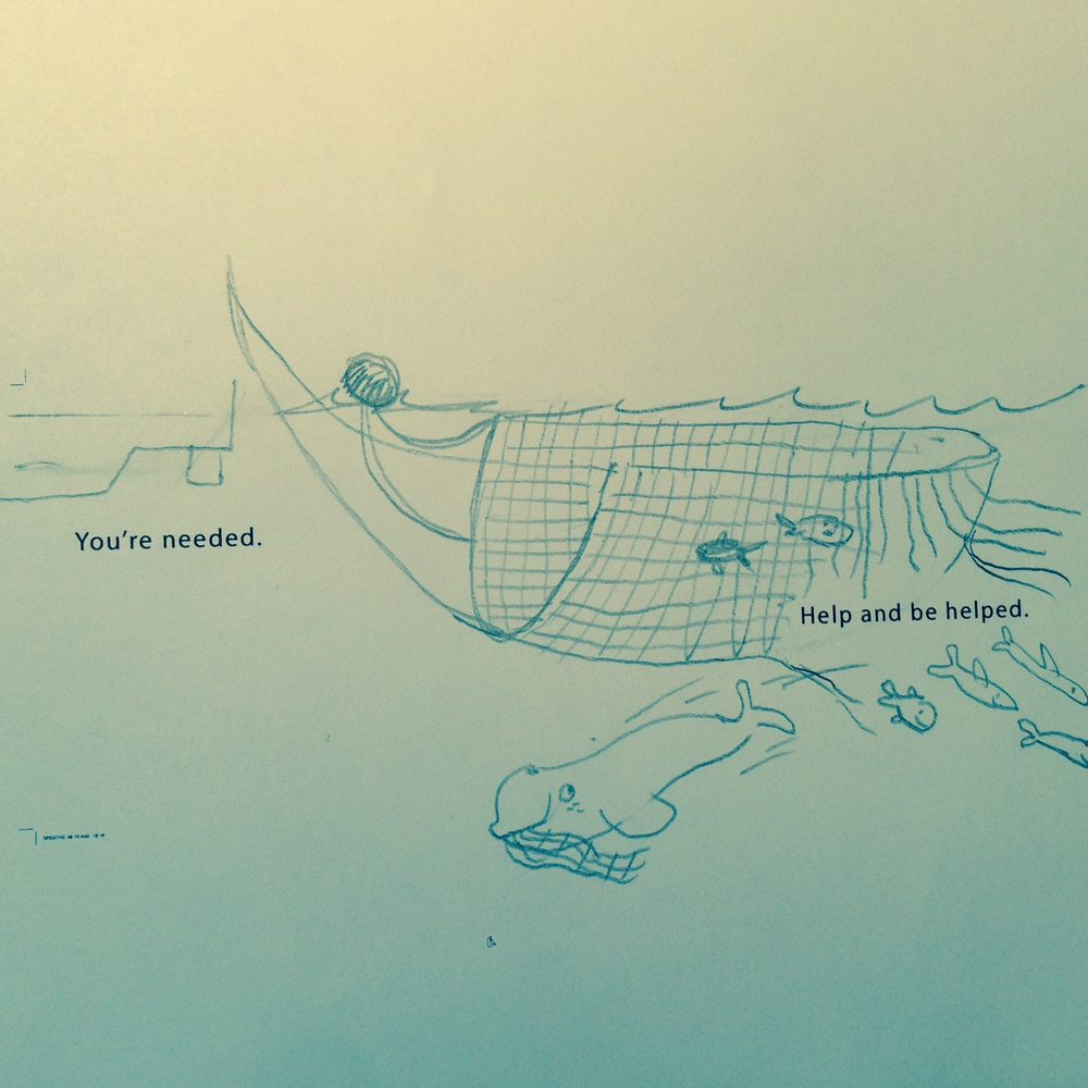 Whale rescues fish from fishing nets in early drafts.