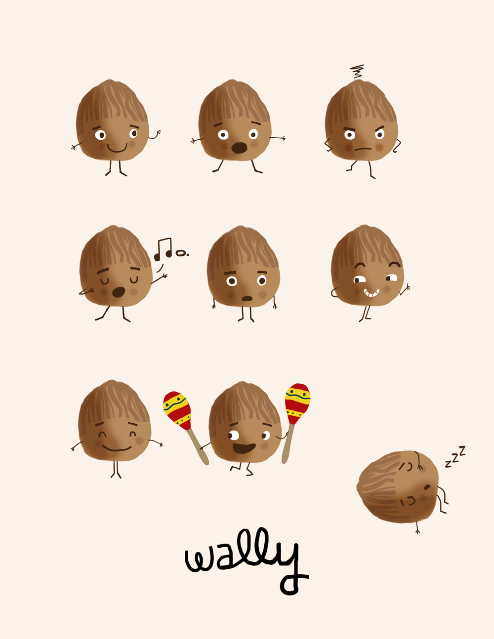 Character sketches of Wally the walnut. His beanie came later as I worked on the interior.