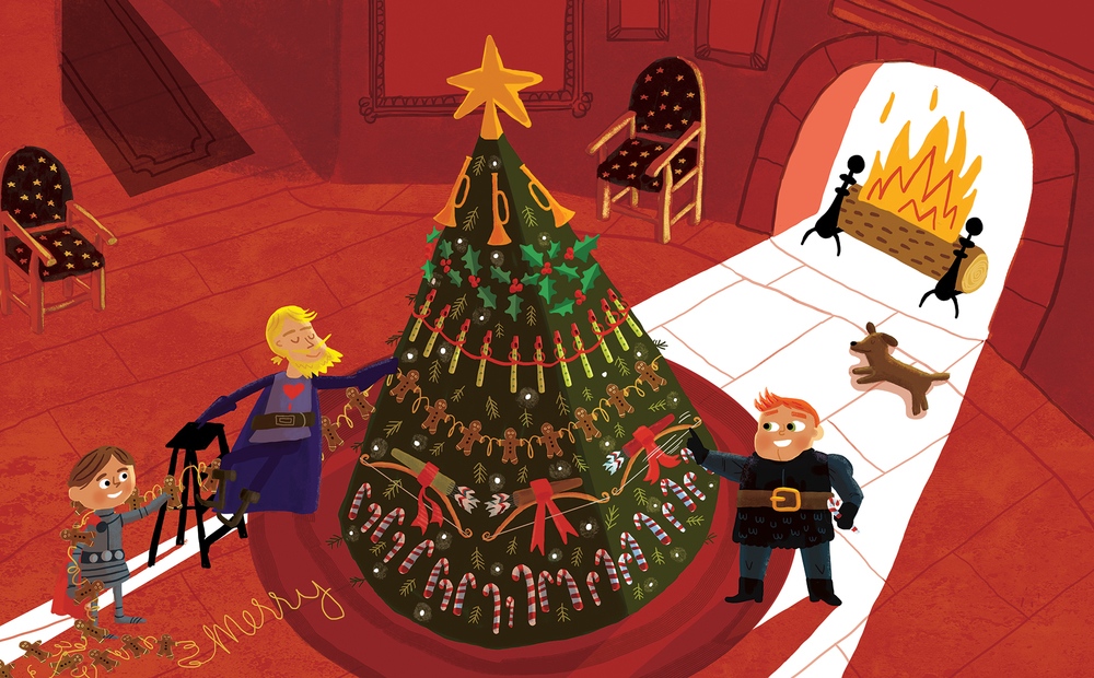 Those knights brought in and festooned it with holly, Decked it with treats of their triumph, it looked oh so jolly.