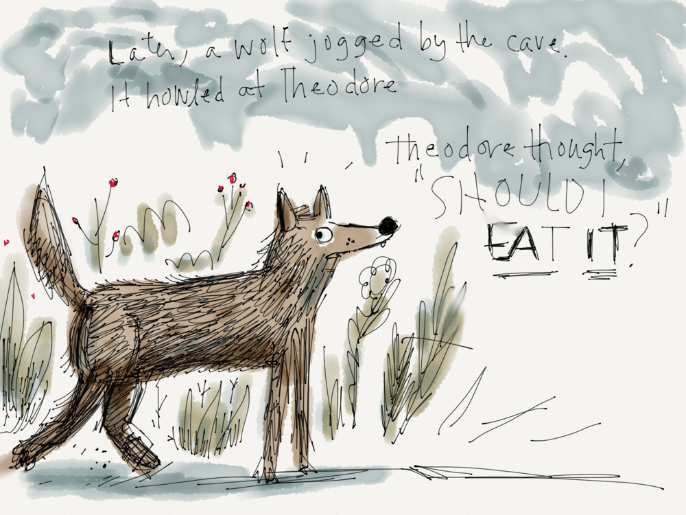 Another wolf dev sketch. One of the first drawings I did for this book.