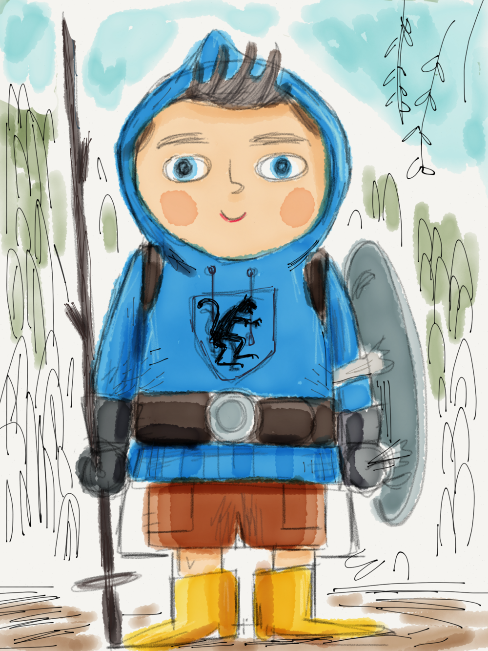 Dev drawing of boy. He was to appear as a self-styled knight.